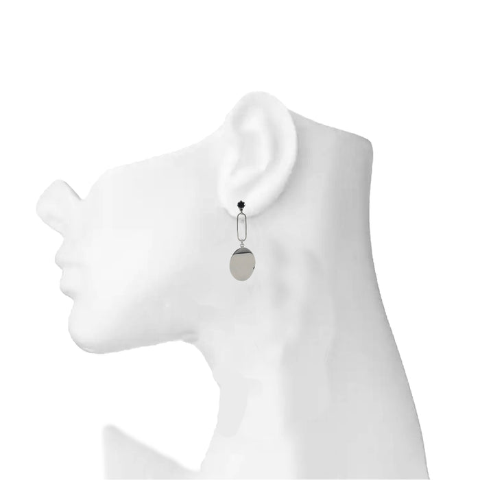 Silver Black Stone Earring  On Mannequin