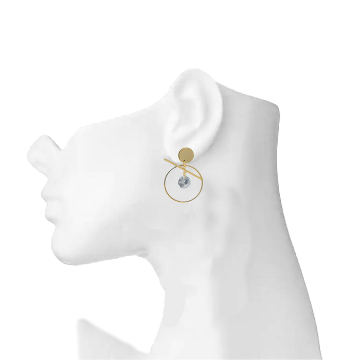 Golden American Diamond Circle Earring On Mannequin