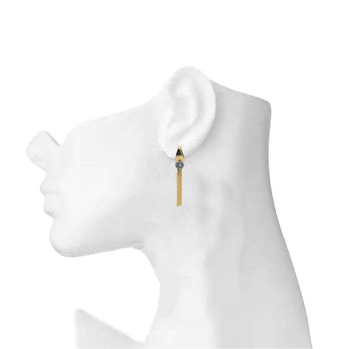 Golden American Diamond Earring On Mannequin