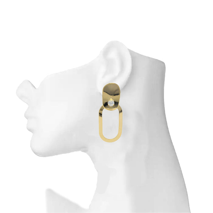Golden American Diamond Oval Shape Earring On Mannequin