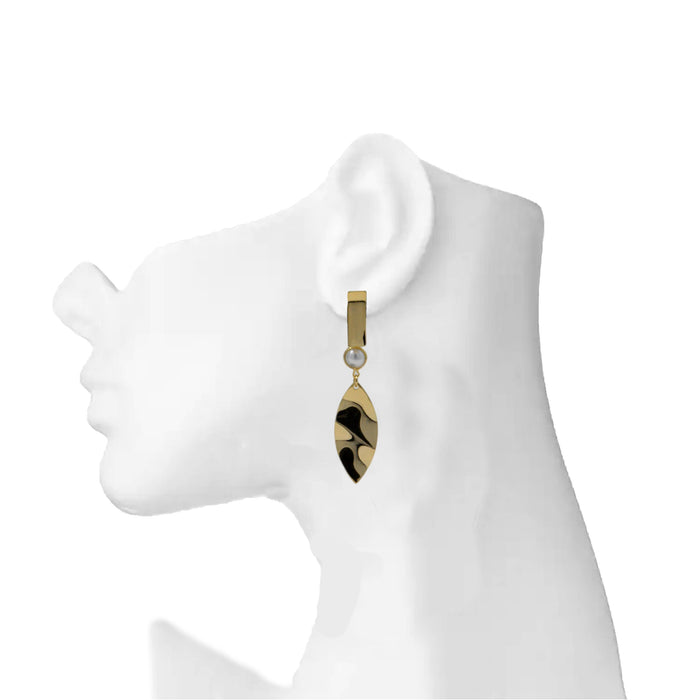Golden Moti Leaf Earring On Mannequin