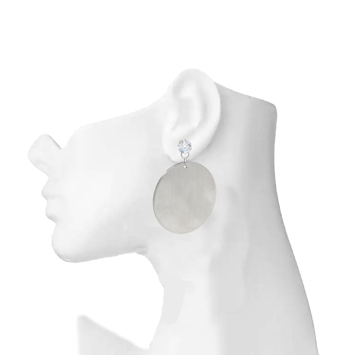 Silver Circle Earring  On Mannequin