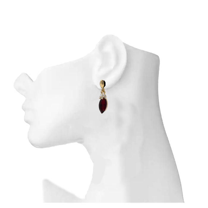 White & Red Stone Earring  On Mannequin