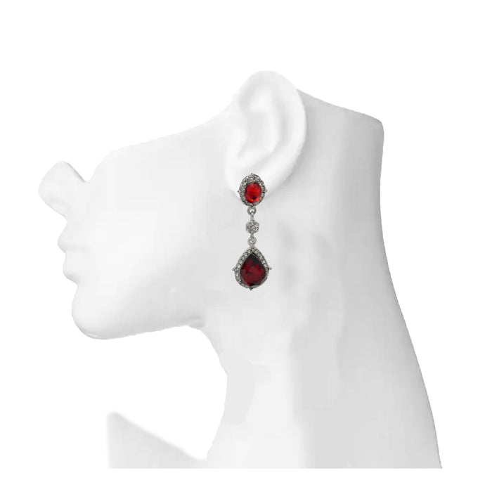 Silver White & Red Stone Earring On Mannequin