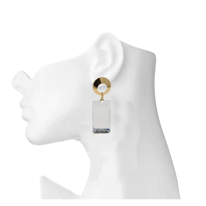 Golden White Stone Rectangle Shape Earring On Mannequin
