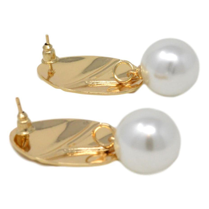 Golden Moti Oval Shape Earring Back View