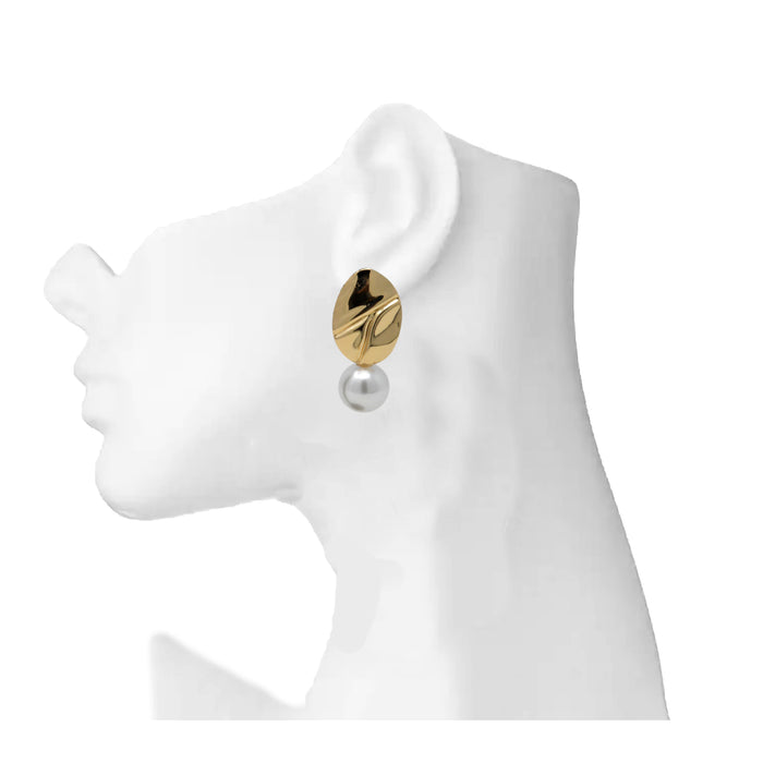 Golden Moti Oval Shape Earring On Mannequin