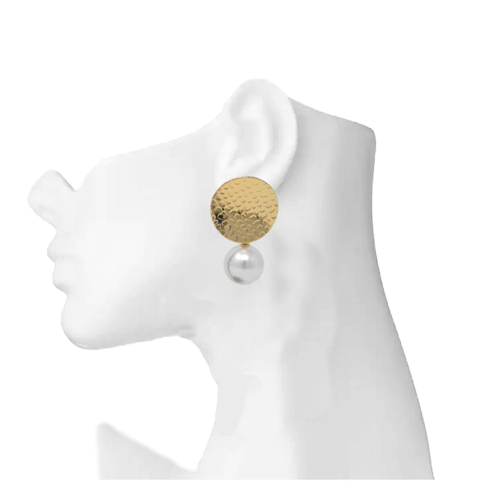 Golden Moti Circle Shape Earring On Mannequin