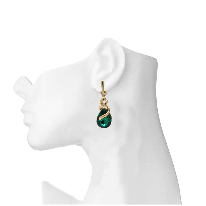 Golden Green Stone Earring  On Mannequin