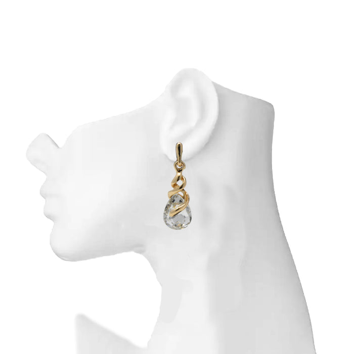 Golden White Stone Earring On Mannequin