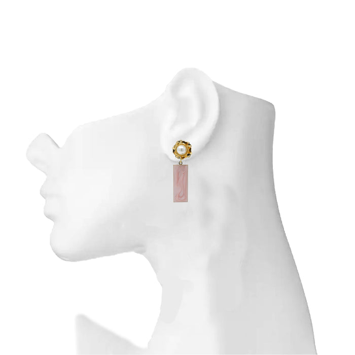 Golden Moti Pink Rectangle Earring On Mannequin