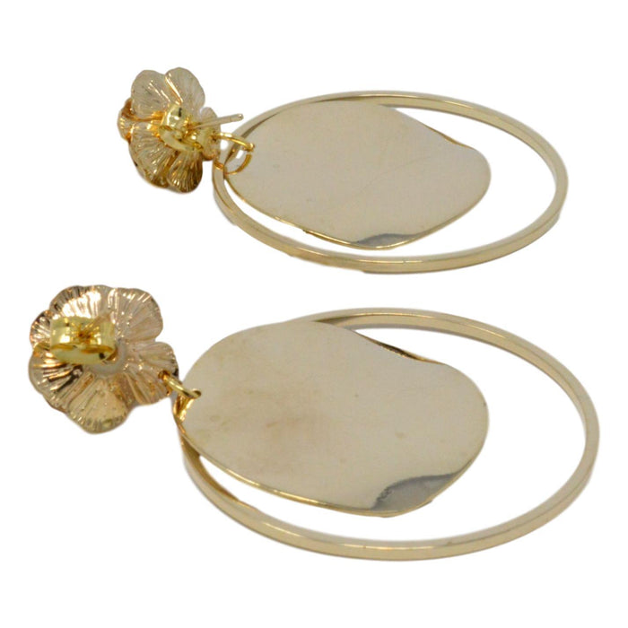 Golden Moti Circle Earring Back View