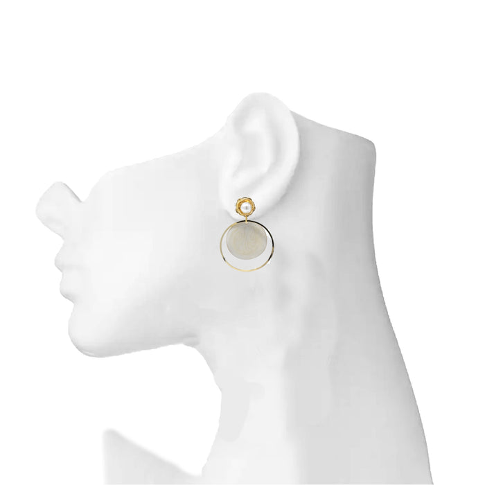 Golden Moti Circle Earring On Mannequin