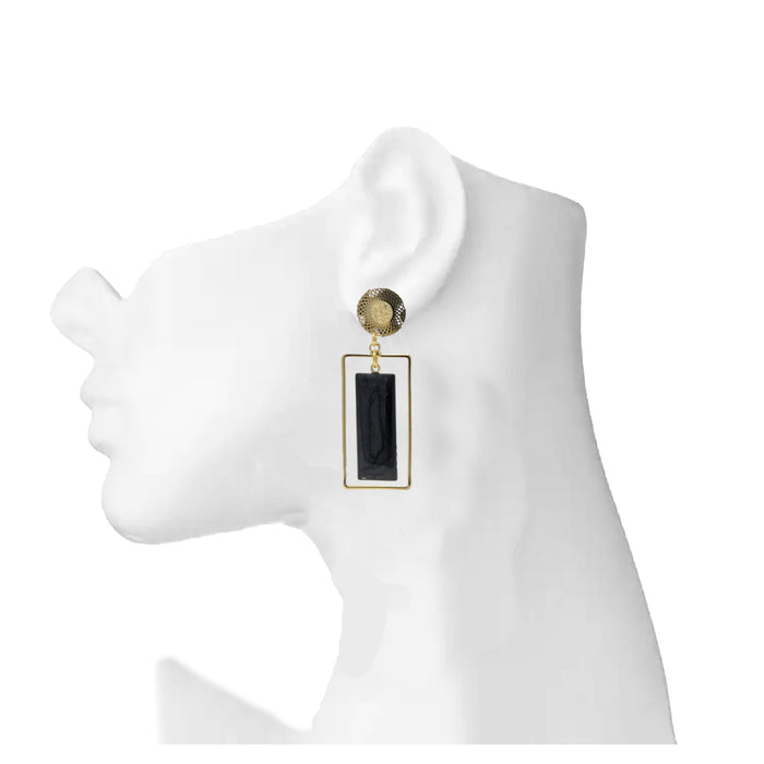 Golden Black Rectangle Earring On Mannequin