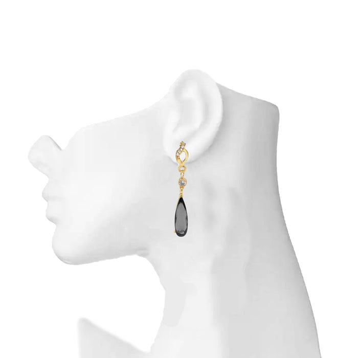Golden White & Black Stone Earring On Mannequin