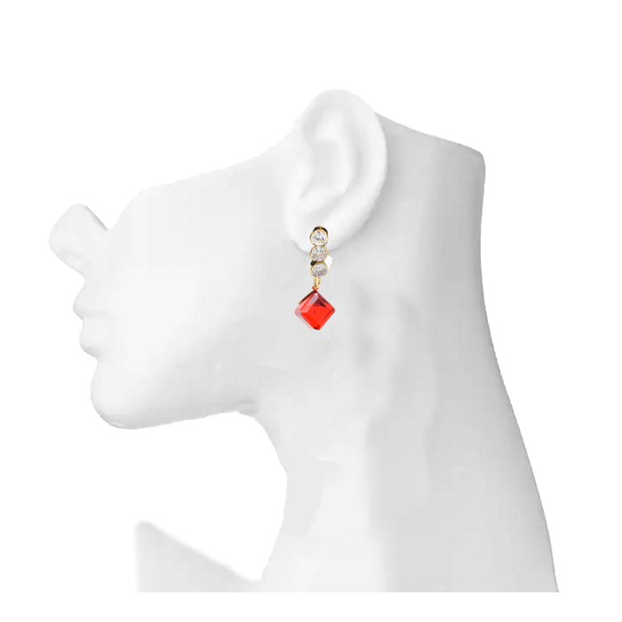 Golden Red Stone Earring  On Mannequin