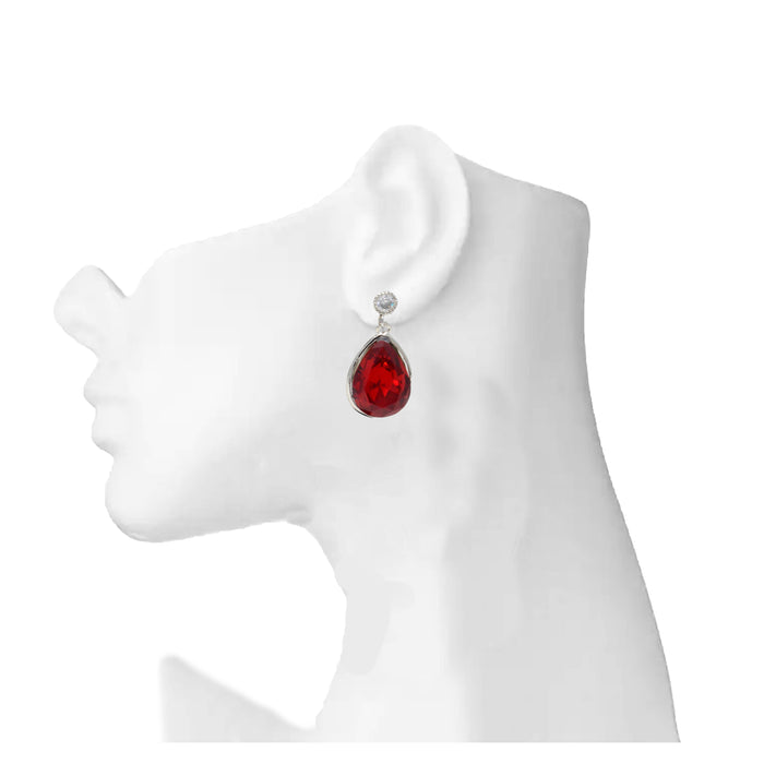 Silver Red Stone Earring On Mannequin