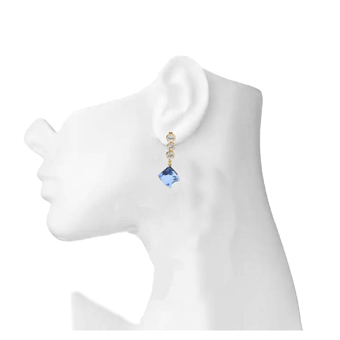 Golden Blue Stone Earring On Mannequin