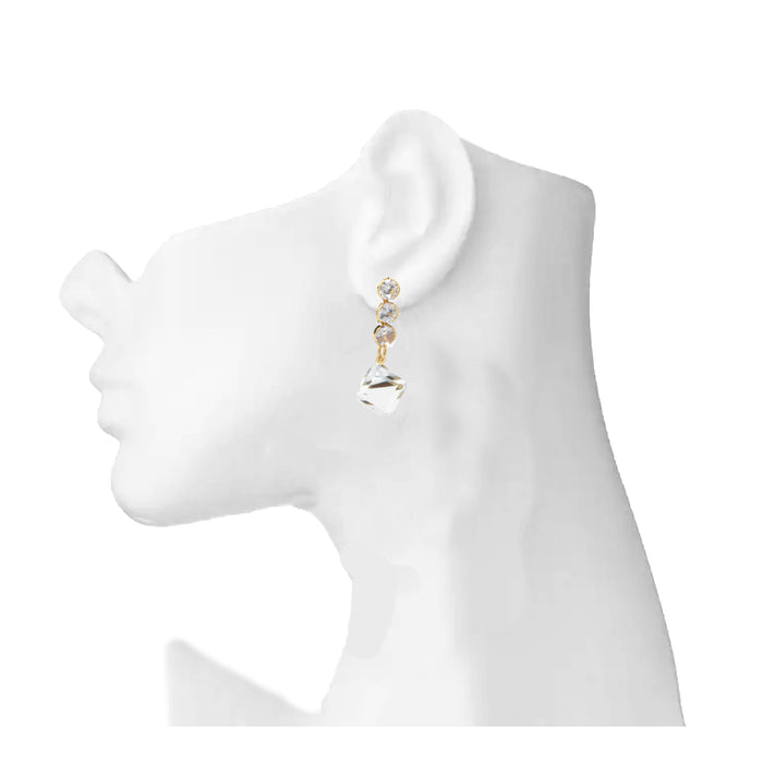 Golden White Earring On Mannequin