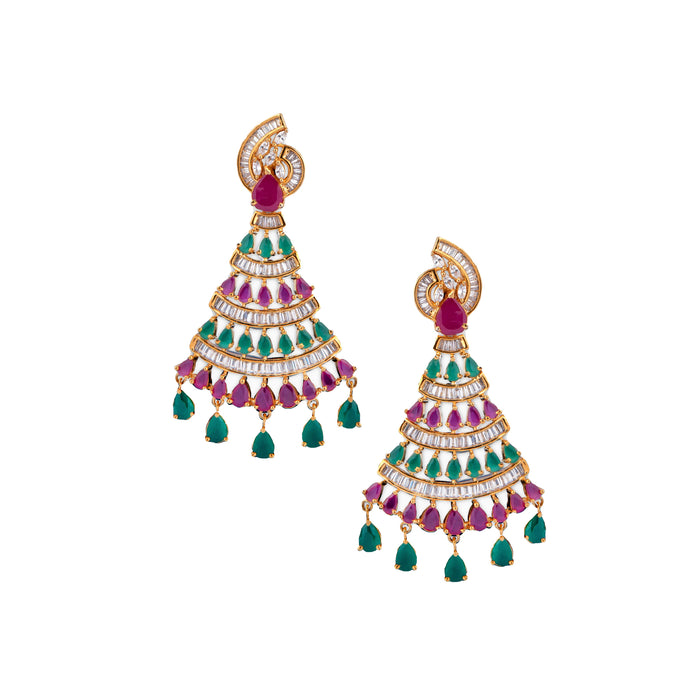Red, American Diamond & Green Stone Earring Front View
