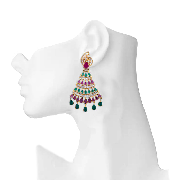 Red, American Diamond & Green Stone Earring On Mannequin