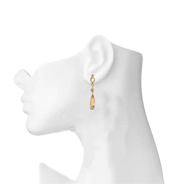 Golden Yellow Stone Earring  On Mannequin
