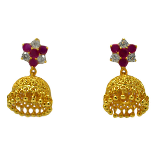 Red & White Stone Golden Jhumki Front View