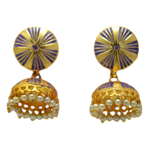 Purple Mina Golden Jhumki Front View