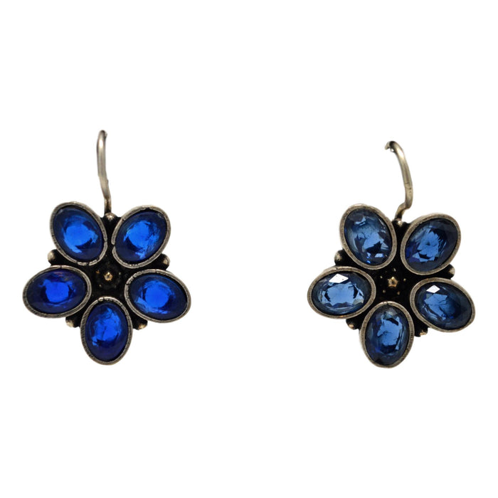 Blue Stone Oxidised Earring  Front View