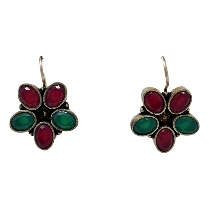 Red & Green Stone Oxidised Earring  Front View