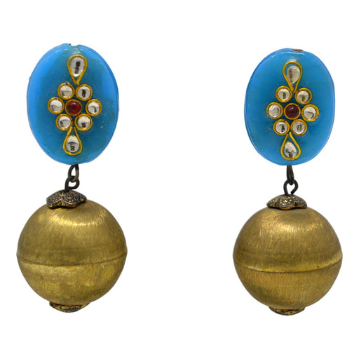Blue Stone Golden Ball Earring Front View