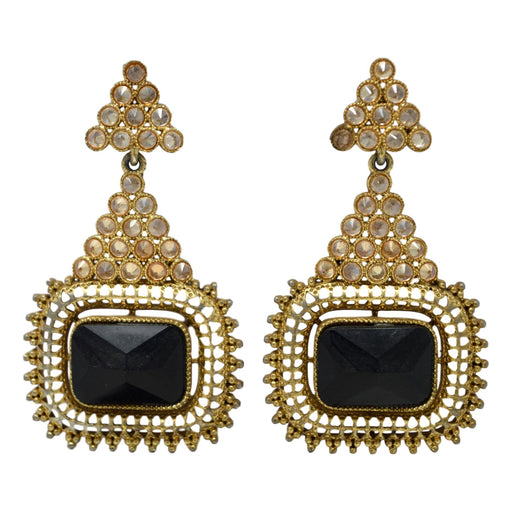 Yellow & Black Stone Golden Oxidised Earring Front View