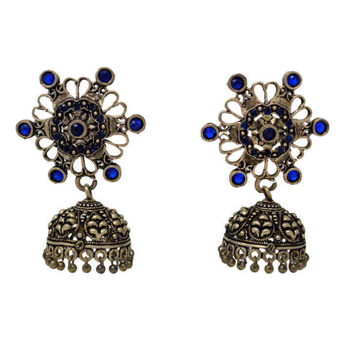 Blue Stone Oxidised Jhumki Front View