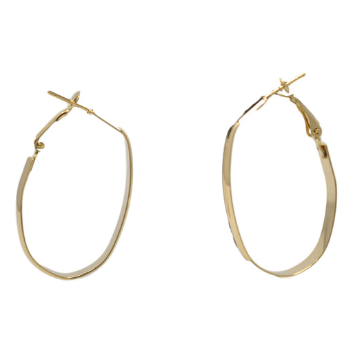 Golden Oval Shape Hoop Front View