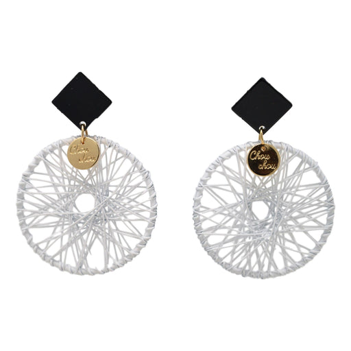 White Dhaga Circle Earring Front View