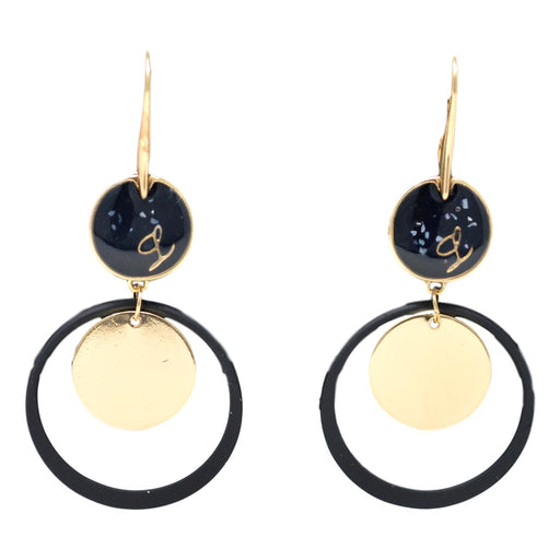Golden Black Modern Hanging Earring Front View