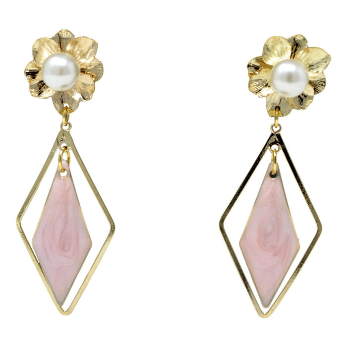 Golden Pink Moti Earring Front View
