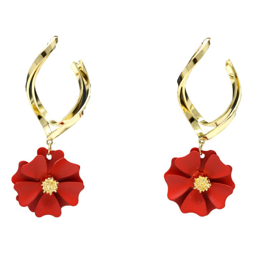 Red Flower Golden Earring  Front View
