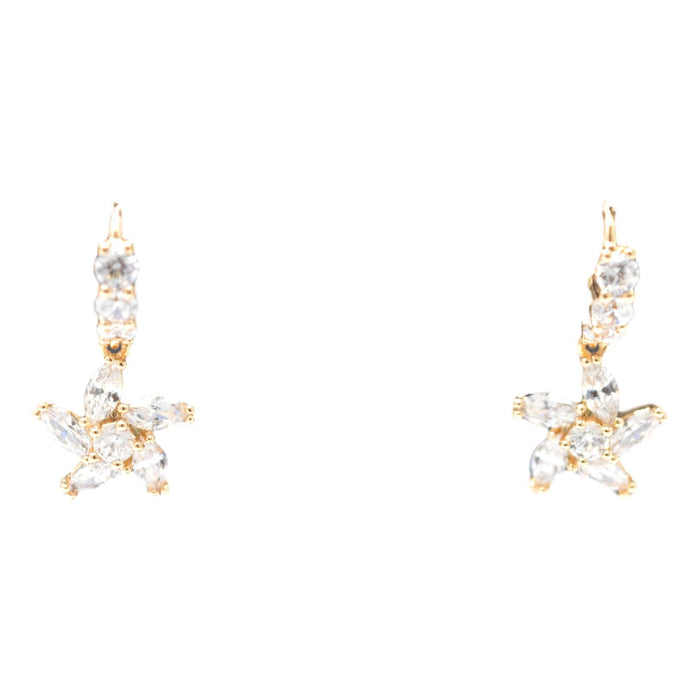 Golden American Diamond Earring Front View