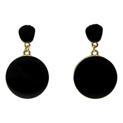 Golden Black Earring  Front View