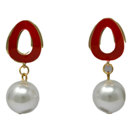 Red Golden Moti Earring Front View