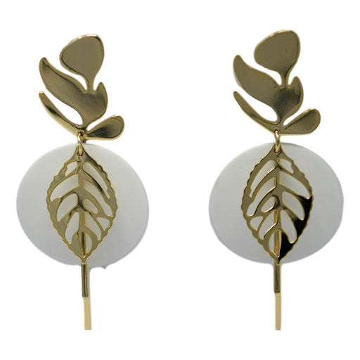 White Circle Golden Leaf Earring  Front View