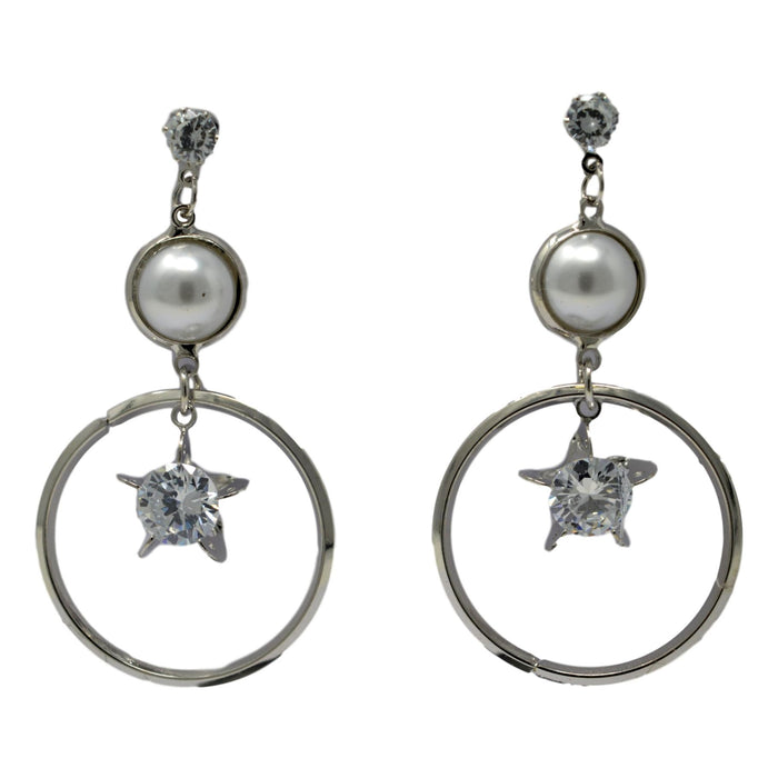 Silver Circle White Stone & Moti Earring Front View