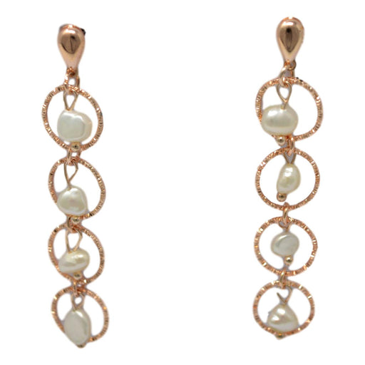 Rose Gold Moti Earring Front View