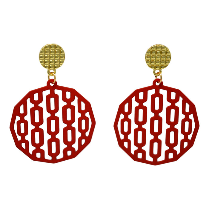 Red Circle Golden  Earring Front View