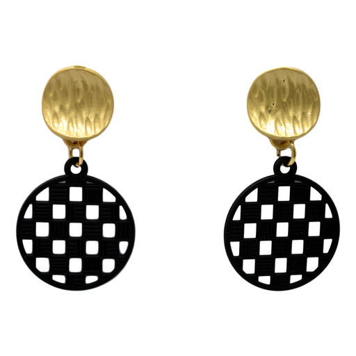 Black Checks Dull Gold Earrring Front View