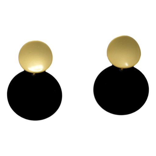 Dull Gold Black Earring Front View