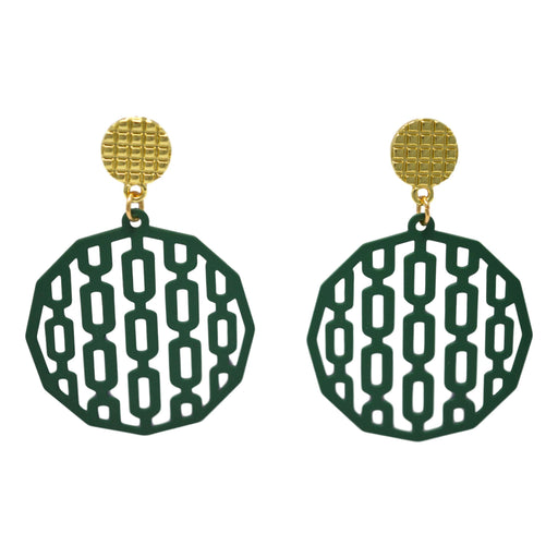 Green Circle Earring Front View