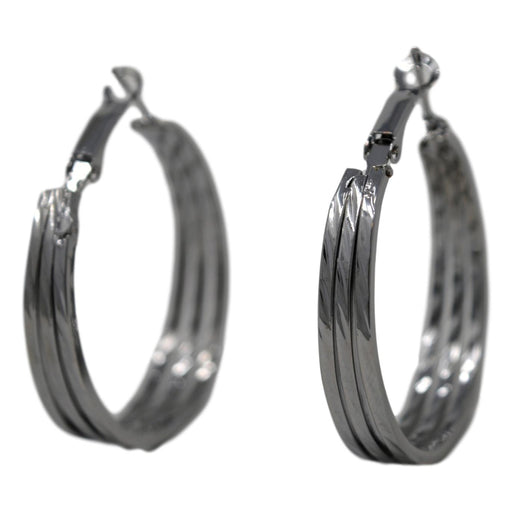 Silver Oxidised Hoop  Front View
