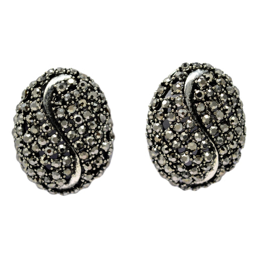 Black Stone Oxidised Earring Front View